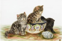 three kittens, a jug and a bowl by bessie bamber