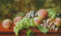 elegant still life with peaches and grapes before a tapestry by william j. mccloskey