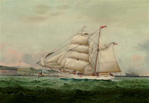 the american yacht quotatalantaquot probably passing fort adams newport by william gay yorke