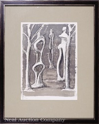 figure and trees by henry moore