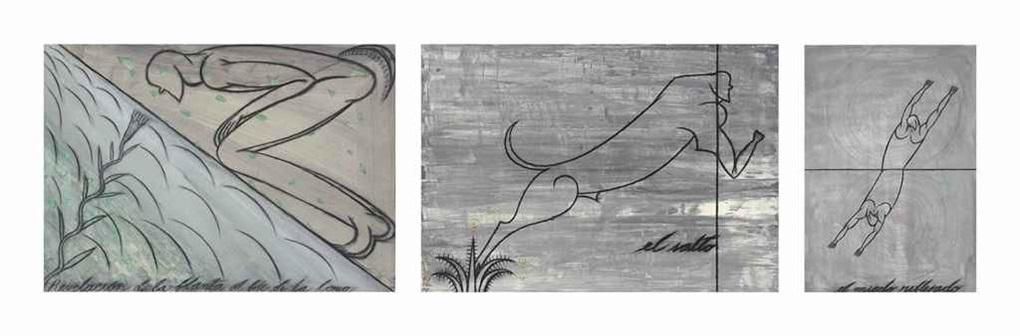 a.) el miedo reflejado; b.) revelación de la planta al pie de la loma; c.) el salto (3 works) by josé bedia