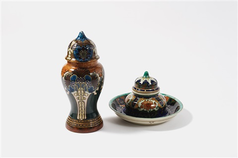 vase with lid and inkwell with lid set of 2 by haagse plateelfabriek co
