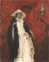 portrait of a lady in white by walt louderback