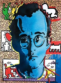 homage to pop art (keith haring, andy warhol, tom wesselmann)(triptych) by dan groover