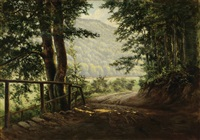 a view of a country road by arthur polzer-hoditz