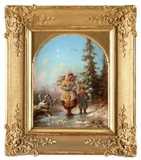 vinterlandskap med dalbarn by joseph magnus stack