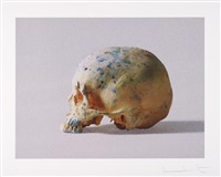 studio half skull, half face (with diamond dust) by damien hirst
