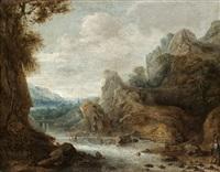 bergslandskap med jägare vid vattendrag by jacques fouquieres