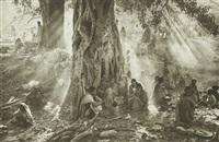 éthiopie - camp de korem. réfugiés sous un arbre by sebastião salgado