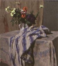 fleurs dans un vase et draperie sur un entablement by charles-auguste edelmann