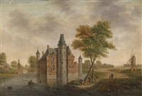 landschaft mit einer wasserburg und einer windmühle by hendrik frans de cort