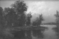 landscape depicting man fishing in rowboat on river by paul r. koehler