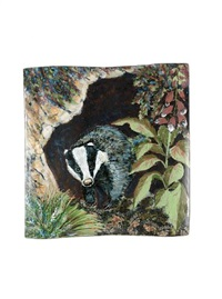 badger large extruded platter (designed by rae phipps) by highland stoneware (co.)