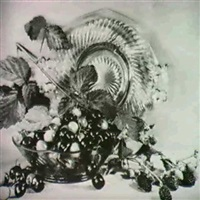 group of 4 still lifes of flowers and fruit by christine fletcher