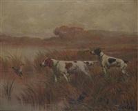 chiens de chasse levant un faisan et un canard (pair) by édouard joseph dantan