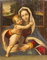 madonna and child with travelers in a landscape by andrea solario