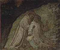 saint maurus rescuing saint placidus from drowning by lippo d'andrea (ambrogio di baldese)