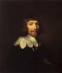 portrait of a gentleman in black costume with a white embroidered collar by abraham de vries
