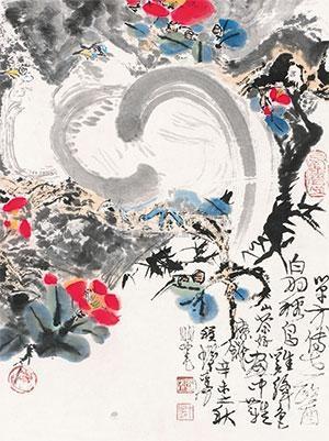 山茶白羽图 by cheng shifa