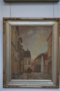 scène de rue et charrette tirée par un cheval by josef karel frans posenaer