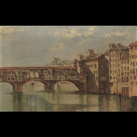 gondalier in a venetian backwater (+ houses and bridge on the venetian canal; 2 works) by m. viana