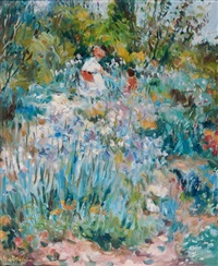 mère et son enfant dans un champ de fleurs by max agostini
