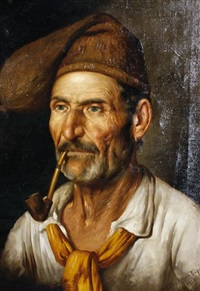 portrait of a man smoking a pipe by federico ciappa
