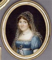 a young lady in cream-lace bordered pale blue silk dress, grey sash tied in a bow, double strand pearl necklace, embroidered gauze veil in her curling brown hair by jean-baptiste couvelet