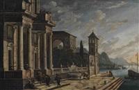 a mediterranean port scene by viviano codazzi