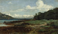 landscape with lake by andrew hislop