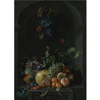 still life of grapes, melons, peaches, plums and other fruit with morning glory and shafts of wheat in a stone niche, with a bunch of grapes and medlars hanging above by coenraet (conrad) roepel