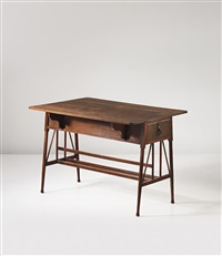 drop-leaf dressing table with drawer by edward william godwin