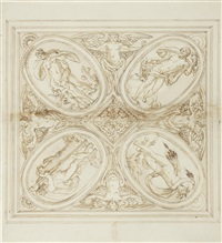 design for a square tray with kronos, zeus, venus with cupid and demeter by jacopo strada