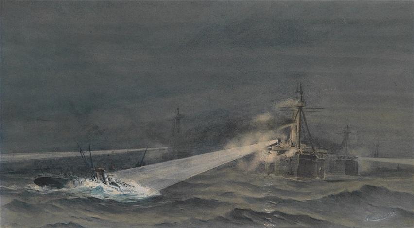angriff von torpedobooten auf panzerboot by august von ramberg