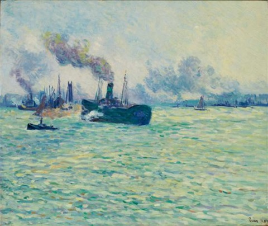 rotterdam scene de port by maximilien luce