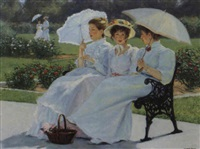 three women in a garden by george f. harris
