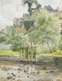 vue d'un village fortifié de bretagne by léon jules alphonse le royer
