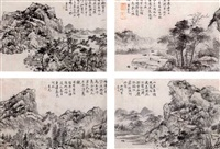 landscapes (album of 12 leaves, some with ink) by cao youguang