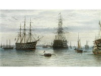 h.m.s. victory moored in portsmouth harbour by frederick miller