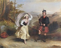 a piper and his lassie in a landscape by william allan