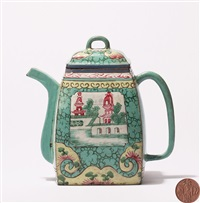 加彩汉方壶 (a zisha covered teapot) by hua fengxiang