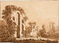ruinen eines römischen aquädukts (+ etching; 2 works) by johann philipp veith