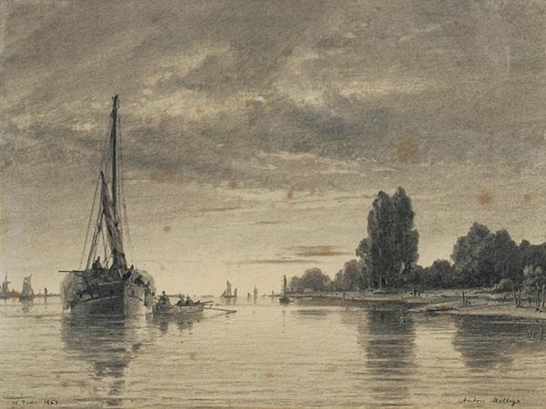flußlandschaft mit fischerbooten by daniel hermann anton melbye