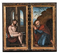 devotional diptych: christ with the symbols of the passion and st. peter by flemish school (16)