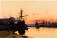 bateaux dans un port by eugène galien-laloue