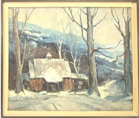 winter landscape with building at foot of mountings by edward o. kraske