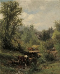 cows watering at a stream by samuel lancaster gerry