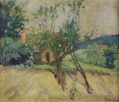 landscape with cottage by pauline palmer