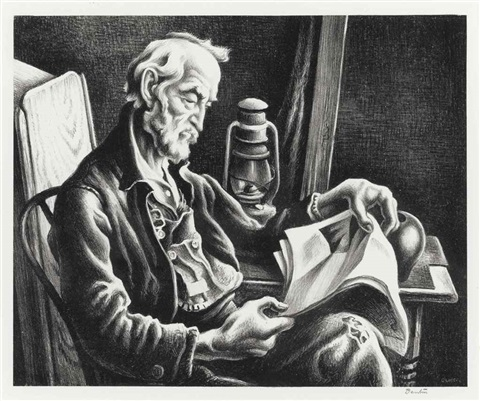 old man reading by thomas hart benton