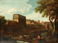 landskap med konstantinbågen och herde i förgrunden by gaspard dughet